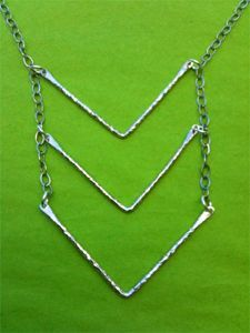 Make your own Geometric Jewelry with jewelry making supplies from http://www.ninadesigns.com/bali_bead_shop/sterling_silver_hammered_chevron_pendant/s2736/details