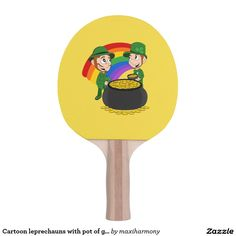 Cartoon leprechauns with pot of gold ping pong paddle