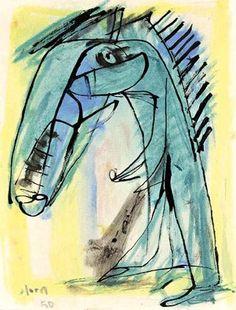 Asger Jorn (1914-1973) die de betekenis van de kindertekening al vroeg inzag, liet zijn zevenjarige zoon op een deur van het huis in Bregnerød schilderen. De expressie van zijn zoontje inspireerde hem in veel van zijn werken. -1950
