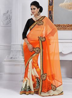 Buy Orange Georgette N Chiffon Half N Half Saree online from the wide collection of Sari. This Orange Saree in Faux Chiffon goes well with any occasion. Shop online for Wide range of silk sarees, cotton sarees, wedding saris  &  more at Cbazaar.com