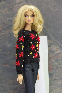 by GEMINI ~ PRE-ORDER doll knitted sweater pullover clothes outfit for Fashion Royalty Poppy Parker Barbie Momoko Misaki scale Barbie Top, Barbie Dress, Barbie Clothes, Barbie Style, Fashion Royalty Dolls, Fashion Dolls, Fashion Outfits, Custom Barbie, Vintage Barbie Dolls