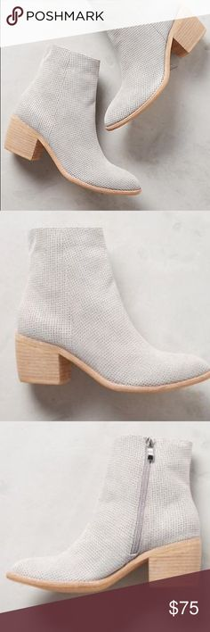 Silent D Women's East Bay Suede Ankle Booties Gorgeous suede ankle booties. My size was sold out so got a size larger and unfortunately it didn't work for me, even with a sock. Light gray color. Suede upper, leather insole. Like new condition, only worn around the house to test if I can make it work with one size too big. Anthropologie Shoes Ankle Boots & Booties