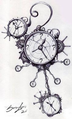 Clockwork Steampunk Line Drawings Steampunk Drawing, Steampunk Kunst, Steampunk Clock, Steampunk Design, Clock Drawings, Pencil Art Drawings, Clock Tattoo Design, Tattoo Designs, Clock Art