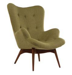 The Matt Blatt Replica Grant Featherston Contour Lounge Chair - Walnut/Tweed Red Black Furniture, Retro Furniture, Sofa Furniture, Furniture Design, Maple Wood Flooring, Occasional Chairs, Mid Century Furniture, Cozy House, Lounge