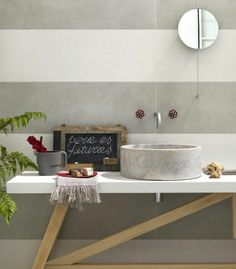 Little red faucet handles. Mirror Sink Wood Stone