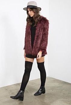 Collarless Faux Fur Jacket, $52.90, Forever 21