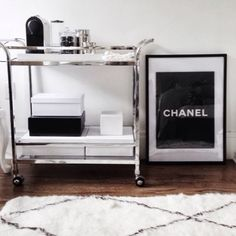 modern glam: bar cart, chanel, black, white and silver.