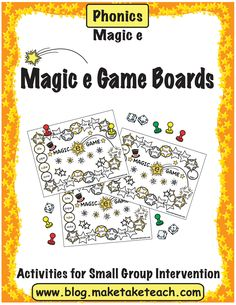 Free game boards for practicing magic e!  Fun for centers or for small group instruction.