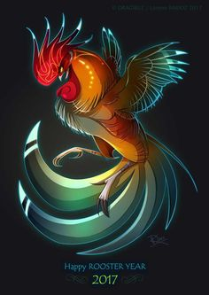 Happy Rooster year by Dragibuz on DeviantArt Fotos Do Galo, Fantasy Creatures, Mythical Creatures, Fantasy Paintings, Fantasy Art, Rooster Illustration, Nursery Drawings, Rooster Year, Rooster Tattoo