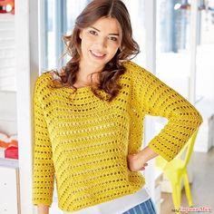 Прямой силуэт сейчас крайне актуален, как и горчично-желтый цвет. Этот воздушный джемпер стильно обновит ваш гардероб.  РАЗМЕРЫ  36/38 (40/44) 46/50  ВАМ ПОТРЕБУЕТСЯ