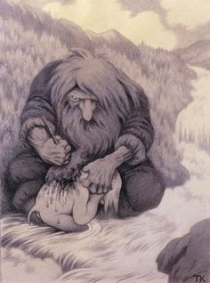 Theodor Kittelsen, Troll som vasker ungen sin (Troll washing his kid), 1905 Fantasy Kunst, Fantasy Art, Troll, Graffiti, Most Popular Artists, Creatures Of The Night, Design Graphique, Woodland Creatures, Art Database