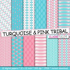 "Buy Tribal digital paper: ""TURQUOISE & PINK TRIBAL"" with tribal patterns and tribal backgrounds, arrows, feathers, leaves, chevrons by clairetale. Explore more products on http://clairetale.etsy.com"