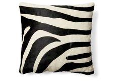 Zebra Hide Pillow, Black/White