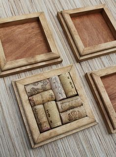 Honey Wine Cork Coasters  DIY set of 4  on rustic reclaimed wood SAVE YOUR CORKS!!!