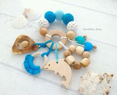 Купить Эко погремушка-грызунок Морской бриз - грызунок, погремушка, игрушка, прорезыватель, слингоигрушкасаратов, слинг