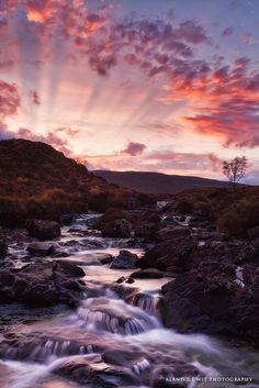 Sunset at waterfall Sligachan, Isle of Skye, Scotland. Dip your face in this…