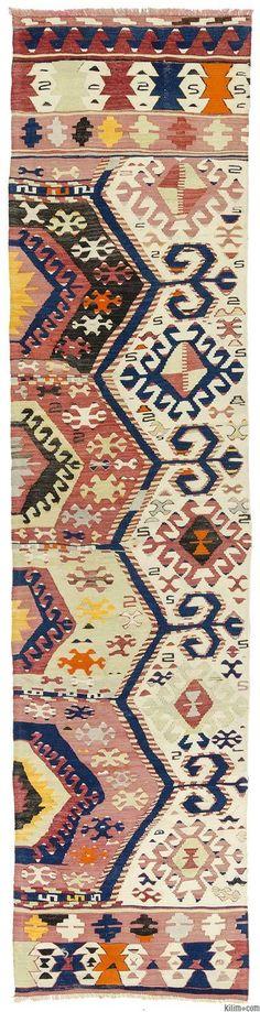 Vintage tribal kilim runner rug hand-woven in 1940's in Aydin in Aegean region of Turkey.
