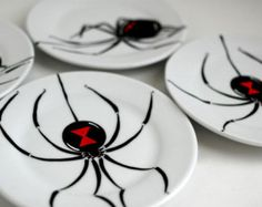 Black Widow Spider Glasses Set of 4 Hand by MaryElizabethArts