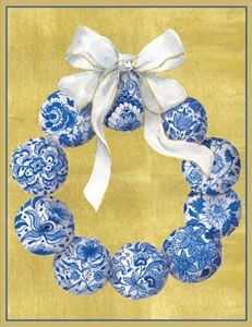 Blue & White Wreath Christmas Cards - 12 per box