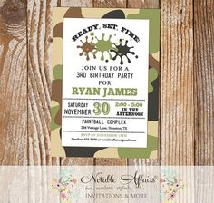 Camo Splat - Paintball - Paint Ball - Art - Artist Modern Camouflage Paintball Birthday Party Invitation - choose your own wording by NotableAffairs
