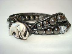 Ladder Wrap Bracelet - Black Onyx and Swarovski Crystals - Good Luck Elephant - Double Wrap - Metal Elephant Button #VHO