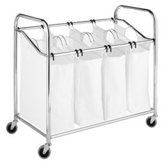 Whitmor 4-Section Canvas Laundry Sorter - ChromeWhite