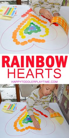 Rainbow Hearts Dot Sticker Activity & HAPPY TODDLER PLAYTIME Here is a colourful dot sticker activity for toddlers and preschoolers. Its a great way to practice colors and strengthen fine motor skills! Rainbow Activities, Valentine Crafts For Kids, Rainbow Crafts, Valentines Day Activities, Valentine Theme, Rainbow Art, Toddler Preschool, Toddler Crafts, Toddler Activities