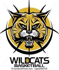 Tribal wildcats basketball team design with mascot face inside ball for school, college or league. Vector Clipart, Eps Vector, Vector Art, Wildcats Basketball, Basketball Teams, Art Icon, Free Illustrations, Logo Ideas, Line Art