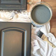 Valspar Gray Shingle Painted Kitchen Cabinets