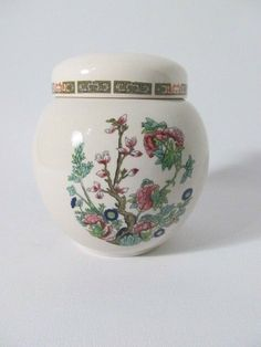 gorgeous and BRIGHT floral tree branch pattern with blue peacock birds! made in Staffordshire, England UK - stands maybe tall. White And Pink Roses, Hanging Plates, Beautiful Fruits, Tea Caddy, Ceramic Decor, Ginger Jars, Tea Ceremony, Tea Sets, Flower Pots