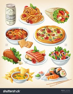 Set of Traditional Food Icons by moonery Collection of most common city dinners, kinds of street food, fast food and traditional meals of some regions. Food Clipart, Food Sketch, Watercolor Food, Food Painting, Food Icons, Tasty, Yummy Food, Food Drawing, Food Illustrations