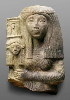 Priestess with the Standard of the Goddess Hathor. Date: 13th century BC. Medium:  sandstone.