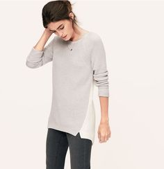 Colorblock Textural Tunic Sweater | Loft