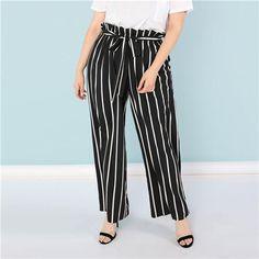 7cf66e07f9810 SHEIN Plus Size Black and White Vertical Stripe Ruffle Waist Flare Hem Pants  Women Straight Leg