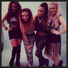 Little Mix... I love perrie's fringe dress thing and jesy's shorts!!