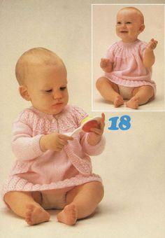 Baby Cardi and Dress Knitting Pattern.