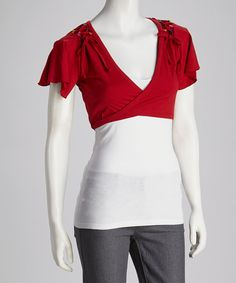 Take+a+look+at+the+Coline+USA+Red+Wrap+Shrug+-+Women+on+#zulily+today!