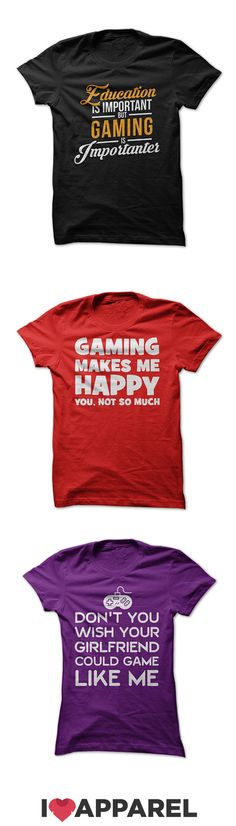 Gaming t-shirts, women's fit t-shirts and hoodies made just for those who love spending their time playing games. Check out the variety of colors today at ILoveApparel.com.