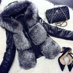 #style #fashion #fur #black #jacket #bag #shoes