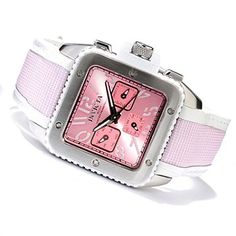Invicta Womens Cuadro Quartz Sunray Dial Stainless Steel Case Leather & Nylon Strap Watch