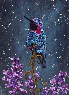 Humming Bird Acrylic Painting  - 6