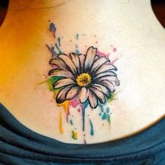 55 Insanely Beautiful Watercolor Tattoos For Women Watercolor Daisy Tattoo, Gerbera Daisy Tattoo, Watercolor Water, Watercolor Ideas, Watercolor Painting, Trendy Tattoos, Small Tattoos, Cool Tattoos, Tatoos