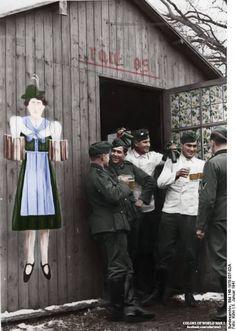 German soldiers drinking