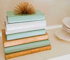 Another place to add pops of colors is using books!