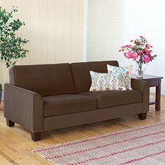 The sofa...simple, solid:  Chocolate Morgan Sofa, Cost Plus World Market