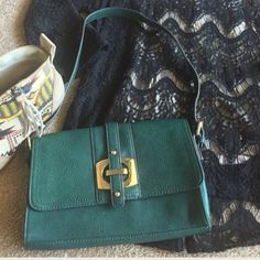 "(Make an offer $20) Kate Landry bag, gold tone HW (I pay shipping) Clean & Green 10""L x 6.5""H x 1""W. Snap magnetic closure, i/s Zip 6.5""L x4"" Deep, o/s Zip 8""L x 3""Deep, handle Drop adjustable from 7"" to 10"" NWT Kate Landry Bags Mini Bags"