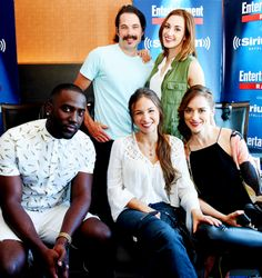 Shamier Anderson and Tim Ronzon and actresses Katherine Barrell, Dominique Provost-Chalkley and Melanie Scrofano attend SiriusXM's Entertainment Weekly Radio Channel Broadcasts From Comic-Con 2016