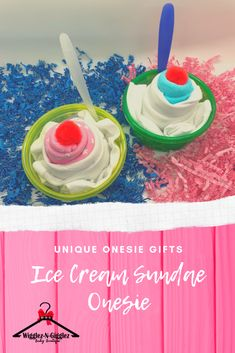 Ice Cream Ice Cream We All Scream for Ice Cream! It looks like ice cream, but it's a onesie! Order your unique onesie ice cream sundae today! Cute Baby Onesies, Cute Baby Girl, Cute Baby Clothes, Cute Babies, Baby Shower Gifts, Baby Gifts, Diy Step By Step, Baby Boutique, Baby Birthday