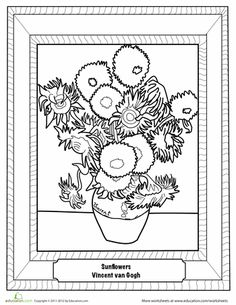 sunflowers by van gogh is part of Famous art coloring - Sunflowers by Van Gogh Famousart ColoringPages Sunflower Coloring Pages, Colouring Pages, Coloring Sheets, Art Van, Sunflower Colors, Art Handouts, Art Worksheets, Coloring Worksheets, Van Gogh Sunflowers