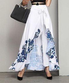 Take a look at this Blue Floral Chiffon High-Waist Ruffle Palazzo Pants today! Fashion Pants, Hijab Fashion, Fashion Dresses, Dress Skirt, Dress Up, Ruffle Pants, Pants For Women, Clothes For Women, Mode Hijab